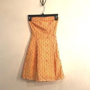 [Lilly Pulitzer]Yellow\Pink Eyelet Strapless Dress